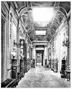 Gallery of the busts in the Luxembourg Palace, vintage engraving. Stock Illustration