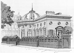 Facade of the Palace of the Legion of Honour on the Quai d'Orsay, vintage eng Stock Illustration