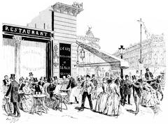 The boulevards, the corner of the Place de l'Opera, vintage engraving. Stock Illustration