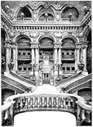 The grand staircase of the Opera, vintage engraving. Stock Illustration