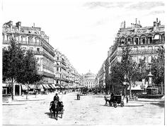 The Avenue de l'Opera, the square of the French theater, vintage engraving. Stock Illustration