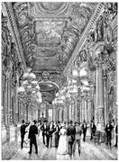 Opera, the focus of the public, vintage engraving. Stock Illustration