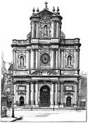 Church of St. Louis-Saint-Paul, vintage engraving. Piirros