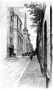 Rue Saint-Louis-en-Ile, vintage engraving. Piirros
