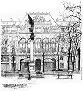 Facade of Gaiety Theatre, for the Square of Arts and Crafts, vintage engravin Stock Illustration