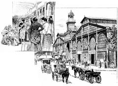 The central aisle, Market Hall, vintage engraving. Stock Illustration