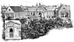 Front door and all of the National Conservatory of Arts and Crafts, vintage e Stock Illustration