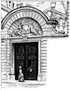 Portal hotel Holland, vintage engraving. Piirros