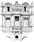 Detail of facade of the hotel Lamoignon, vintage engraving. Stock Illustration