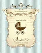 Vintage baby shower invitation card with ornate elegant retro abstract floral Stock Illustration