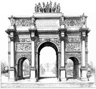 Triumphal arch of the Place du Carrousel, vintage engraving. Stock Illustration