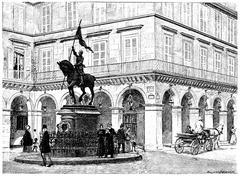 Statue of Joan of Arc, Place de Rivoli, vintage engraving. Stock Illustration