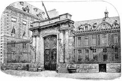 Entrance of the Hotel Mazarin (National Library), Street Petits-Champs, vinta Stock Illustration