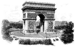 Triumphal arch of the star, vintage engraving. Stock Illustration