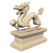 White Chinese dragon statue holding a ball in his claws Stock Illustration