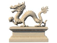White Chinese dragon statue holding a ball in his claws, side-view Stock Illustration