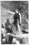 A Gallic priestess, vintage engraving. Stock Illustration