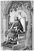 Saint Louis, statue of William, vintage engraving. Piirros