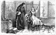 One day St. Louis, finding her sister spinning wool, vintage engraving. Stock Illustration