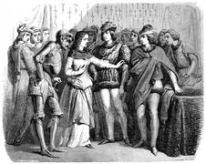 Interview of Charles VII and Joan of Arc Chinon, vintage engraving. Stock Illustration