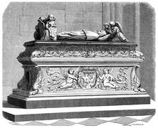 Tomb of the children of Anne of Brittany in the cathedral of Tours, vintage e Stock Illustration