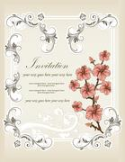 Vintage invitation card with ornate elegant retro abstract floral design Stock Illustration