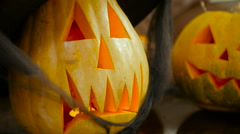 Two scary lanterns from pumpkins on the Halloween Stock Footage