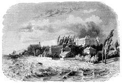 View of Coppet, on Lake Geneva, vintage engraving. Piirros