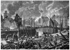 Bombardment of Copenhagen, vintage engraving. Stock Illustration