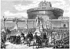 Occupation of Rome by the French army, vintage engraving. Stock Illustration