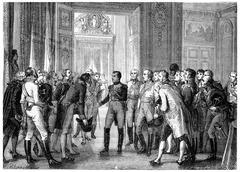 Napoleon in Dresden, vintage engraving. Stock Illustration