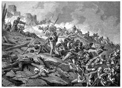 Heroic defense of the castle of Burgos, vintage engraving. Stock Illustration