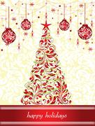 Vintage Christmas card with ornate elegant retro abstract floral design Stock Illustration