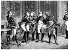 Abdication of napoleon, vintage engraving. Stock Illustration