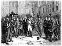 Farewell at Fontainebleau, vintage engraving. Stock Illustration