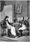 Napoleon looking at his mother before leaving the island of Elba, vintage eng Stock Illustration