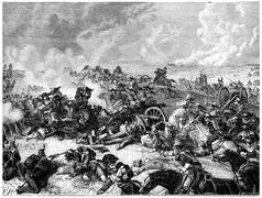 Battle of Waterloo Ney charge the land of cuirassiers, vintage engraving. Stock Illustration