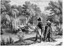 Last residence of Napoleon at Malmaison, vintage engraving. Stock Illustration
