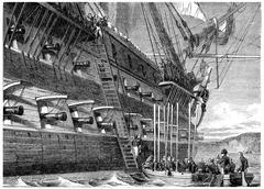 Napoleon surrendering to board the Bellerophon, vintage engraving. Stock Illustration