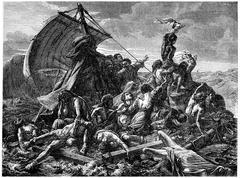 The shipwreck of the Medusa, vintage engraving. Stock Illustration