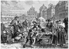 Distribution of food to the starving peasants, vintage engraving. Stock Illustration