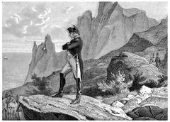 Napoleon at St. Helena, vintage engraving. Stock Illustration