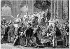 Coronation of Charles X, vintage engraving. Stock Illustration