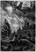 Nothing can stop the rage of the beasts, vintage engraving. Stock Illustration