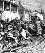 Attack in Mongolia, were five hundred and we were five, vintage engraving. Stock Illustration