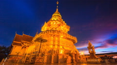 Wat PhraThat Doi Saket Landmark Temple Of Chiang Mai, Thailand Night To Day Stock Footage
