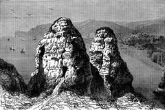 Cape Antifer at Etretat, vintage engraving. Stock Illustration