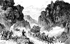 Sierra morena. We drove to the edge of the abyss, vintage engraving. Stock Illustration