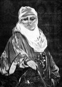 Morocco. A woman of the country, vintage engraving. Stock Illustration