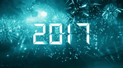 Countdown 10 to 1 finals 2017 happy new year space green Stock Footage